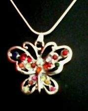 Butterfly Rhinestones Pendant on a silver chain  751 free UK post