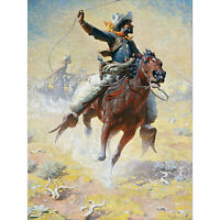 Leigh The Roping Cowboy Lasso Horse Painting XL Canvas Art Print