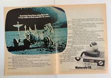 1977 Motorola CB Radio Print Ad 40 Channel NASA Moon Original Vintage 2 Page