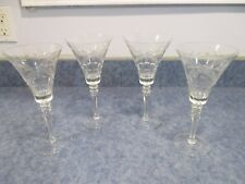 """LOT OF 4 VINTAGE WINE WATER GLASSES CUT ETCHED FLORAL BEAUTIFUL 8 3/8"""""""