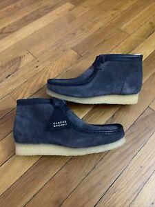 Clarks Originals WALLABEE Boot Dark Navy Suede Moccasins 55048 Men's Size 8