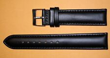17mm Men's Padded Watch  Band/Strap  Black Genuine Leather Silver Buckle- Long