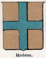 Modena: Piccolo Stemma del 1901. Cromolitografia. Stampa Antica + Passepartout