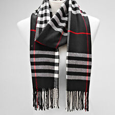 Black and Multi Colored Tassel End Classic Tartan Scarf