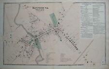 Original 1872 Map KENNEBUNK VILLAGE York County Maine Mousam River Saw Mill Farm