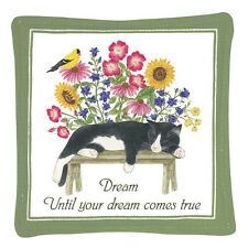 Alice's Cottage Cotton Scented Spiced Mug Mat Coaster Cat On Bench S11-444 New