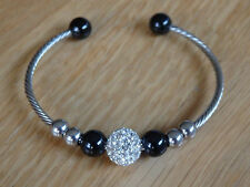 stainless steel wire wrap shamballa style cuff bracelet with beaded charms