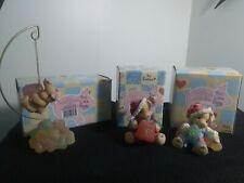 vintage lot of 3 eneso this little piggy figurines