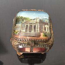 BOITE COFFRET Exposition Universelle 1900 Paris Fixé Sous Verre JEWEL BOX Casket