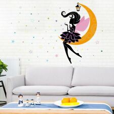 Removable Vinyl Wall Decal Moon fairy Elf Girl Sticker Home Room DIY Home Decor