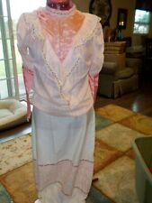 VINTAGE WOMEN'S HANDSEWN LONG SKIRT & BLOUSE- WHITE WITH SILK PINK