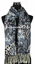 Stunning Handmade 2-Ply 100% Cashmere PAISLEY & LEOPARD Shawl Wrap, Silver Blue