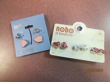 5 GIRLS FASHION SMALL STUD EARRINGS HORSE SHOES HEARTS JEWELRY PIERCED BLING