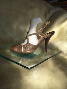 Emanuel Ungaro  brown snake leather shoes,stiletto,slinback.MISMATCHED SIZING