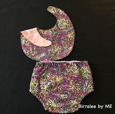 Bib & Nappy Set Handmade by Birralee by ME using Aboriginal fabric.Size S3-6Mth