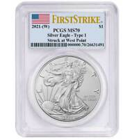 2021 (W) $1 American Silver Eagle PCGS MS70 FS Flag Label