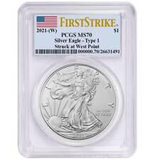 Presale - 2021 (W) $1 American Silver Eagle Pcgs Ms70 Fs Flag Label