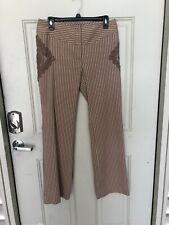 Tracy Reese Brown Pin Stripe Dress Pants With Lace Accent Size 6