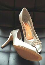 Size 4 /37  Sabatine SILVER Satin Diamante Cluster Bridal Wedding Shoes