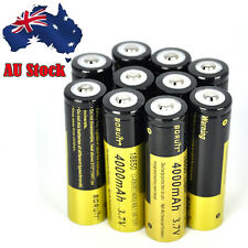 10pcs BORUiT 4000mah 3.7v 18650 Rechargeable Li-ion Battery for Flashlight Torch