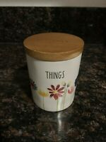 "Rae Dunn ""THINGS"" Floral Wooden Lid Bathroom Ceramic Canister By Magenta"