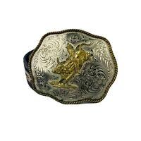 Nocona Cowboy Belt Leather Brown Large Buckle Western Size 34