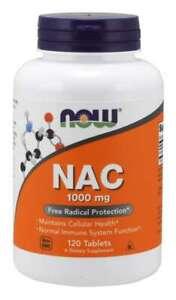 NOW Foods N-Acetyl-Cysteine (NAC) 1000mg 120 Tabs Immune System Function 04/22EX