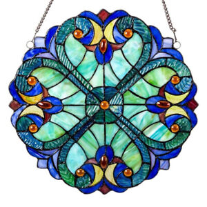 Vintage Style Colorful Stained Glass Window Panel Suncatcher Garden Decors