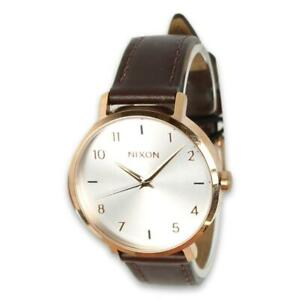 Nixon Womens Arrow Leather Watch Rose Gold Silver One Size New