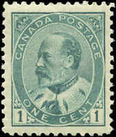 Mint H Canada F-VF Scott #89 1c 1903 King Edward VII Issue Stamp