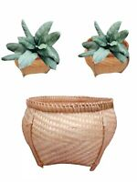 Wicker Storage Basket Woven Bamboo Rattan Round Small Fruit Flower Pot Holder