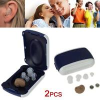 2pcs Small In Ear Invisible Best Sound Amplifier Adjustable Tone Hearing Aids A2