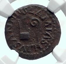 Augustus Authentic Ancient 9Bc Quadrans Roman Coin Lituus Simpulum Ngc i81685