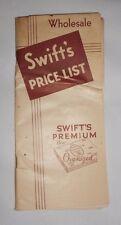 Vtg 1933 Swift Premium Wholesale Price List Salesman Swift's Chicago Stock Yards