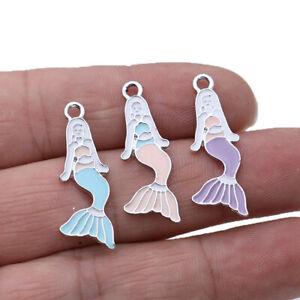 10PCS Silver Enamel Mermaid Charm pendant Jewelry Making DIY Bracelet Earrings