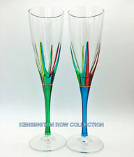 POSITANO CHAMPAGNE FLUTES - SET/2 - GREEN & TURQUOISE STEMS - VENETIAN GLASSWARE