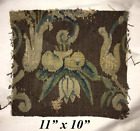 "Antique Verdure Flemish Tapestry Fragment for Throw Pillow, 11"" x 10"", c. 1600s"