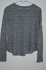 77f5d13be4 Vince Gray   Ivory Striped 100% Linen Long Sleeve Scoop Neck Knit Top Size S