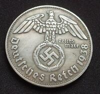 WW2 GERMAN COMMEMORATIVE COIN 1 REICHSMARK 1938 ADOLF HITLER EXONUMIA