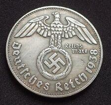 Segunda Guerra Mundial moneda alemana 1 Marcos 1938 Adolf Hitler Fuhrer Tercer Reich Clásico