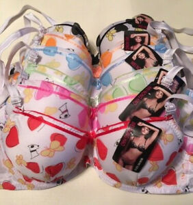 Playful Bra design with Hearts, Butterflies and dogs - Push-up padded bra