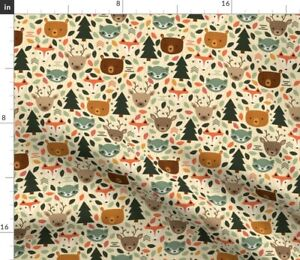 Woodland Creatures Small Nature Deer Forest Spoonflower Fabric by the Yard