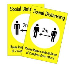 Social Distancing A4 Poster Sign - PACK OF 10 - Weatherproof Laminated 2 Metres