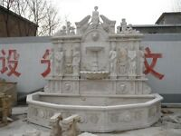 MONUMENTAL HAND CARVED MARBLE FIGURAL WALL FOUNTAIN GD24