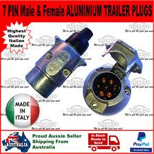 Large 7 PIN Male & Female ALUMINIUM METAL Italian Made TRAILER PLUG and SOCKET