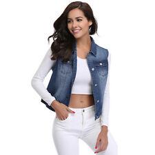 Women Vintage Sleeveless Denim Jeans Vest Hiphop Waistcoat Punk Jacket Coat EN-5