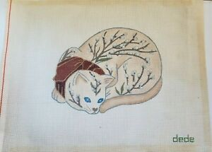 """Vintage DEDE Needlepoint Hand Painted Canvas  CAT with FLOWER BUDS 12""""x10"""""""