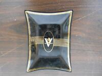 VINTAGE BLACK GLASS DISH WITH GOLD TRIM AND A V IN THE  CENTER  - ASHTRAY?