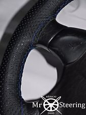 FOR VOLVO V70 2000-07 PERFORATED LEATHER STEERING WHEEL COVER DOUBLE BLUE STITCH