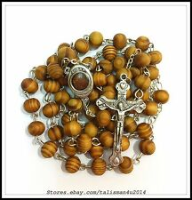 Olive Wood Catholic Rosary Beads Necklace Cross Jerusalem Holy Soil Centerpiece